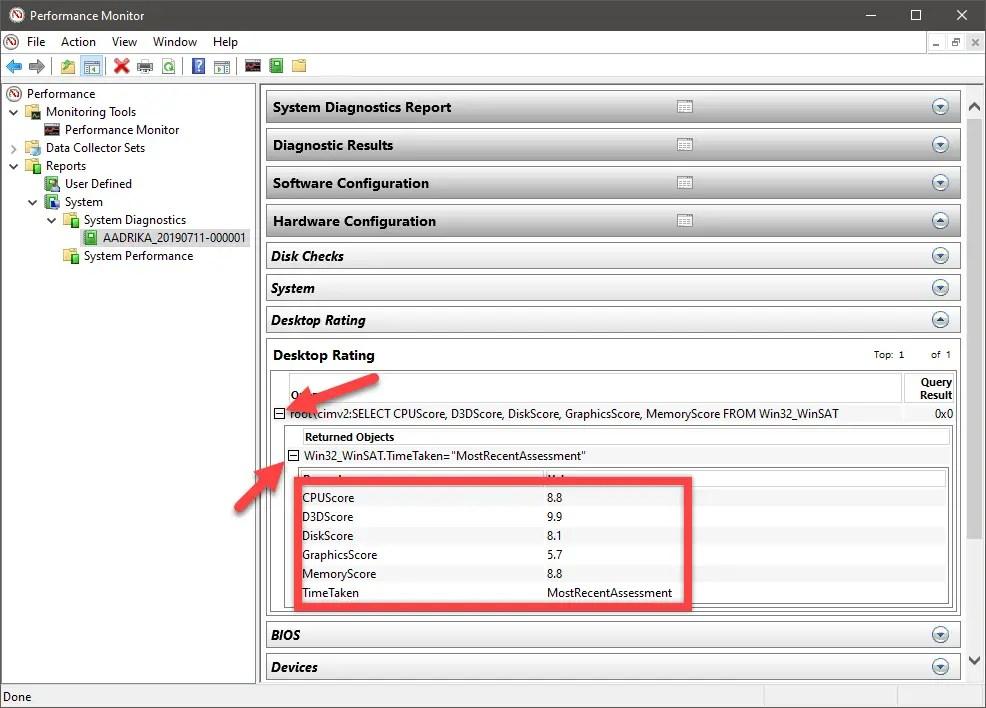 Windows 10 windows experience index score - wei score in performance monitor
