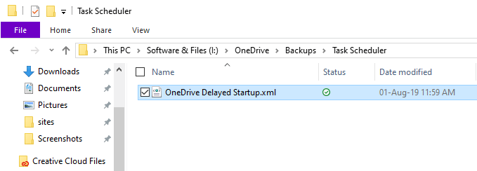 Backup task scheduler - file saved