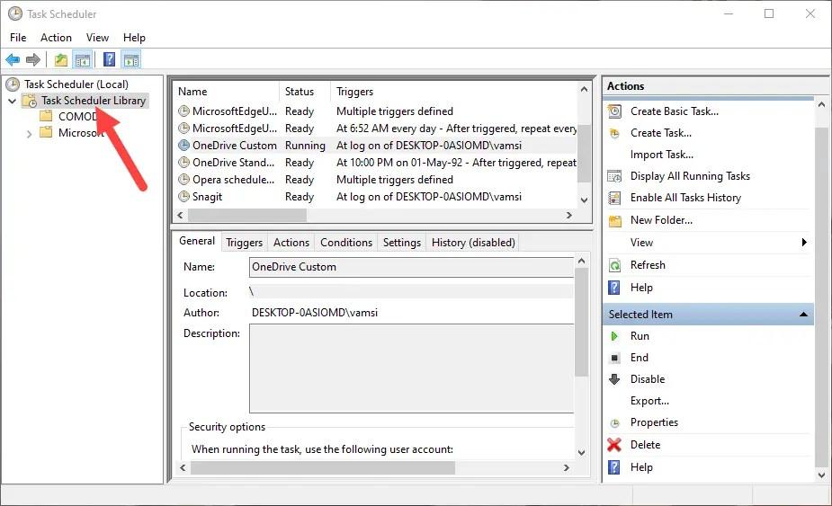Backup task scheduler - select folder