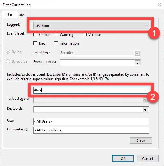 Log login and shutdown activities - fill filter options