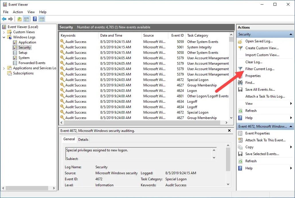 Log login and shutdown activities - select filter option