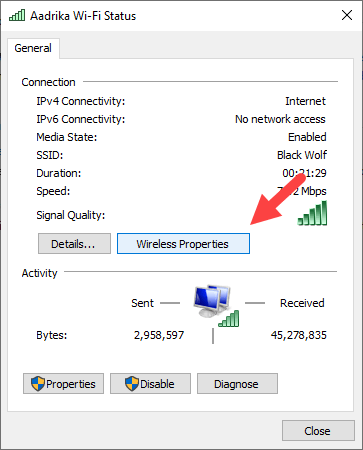 View saved wi-fi password windows - click on wireless properties button