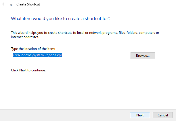 Win10 network adapters shortcut - enter file path