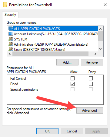 Win10 remove powershell from right-click - click advanced