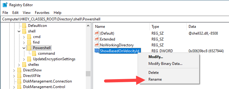 Win10 remove powershell from right-click - click rename option