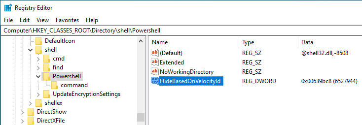 Win10 remove powershell from right-click - rename value