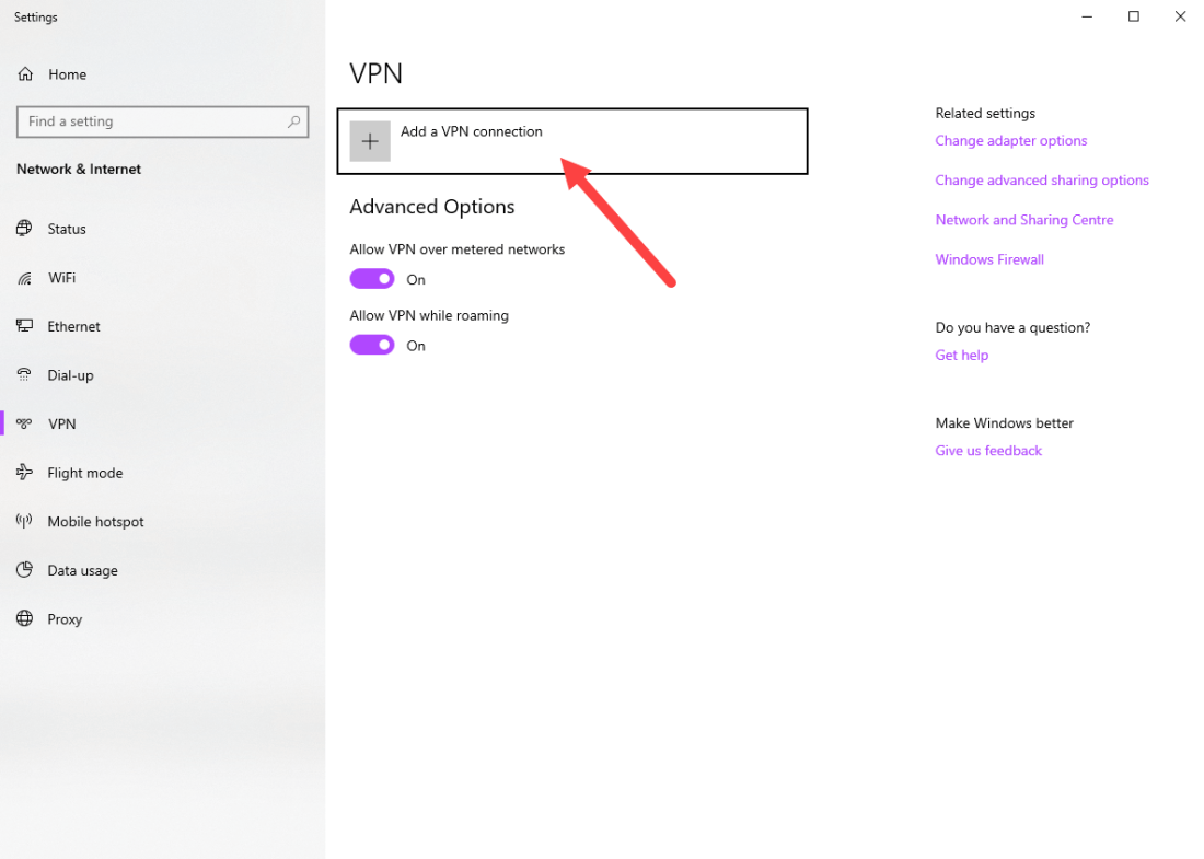 Windows vpn options - click add vpn connection