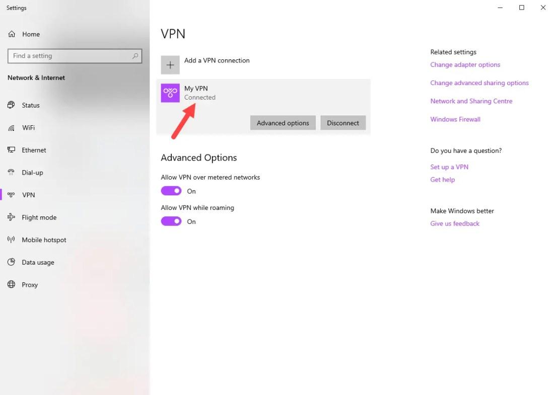 Windows vpn options - vpn connected