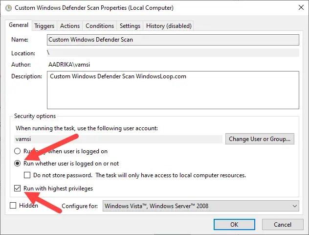 Schedule-windows-defender-scan-select-admin-checkbox