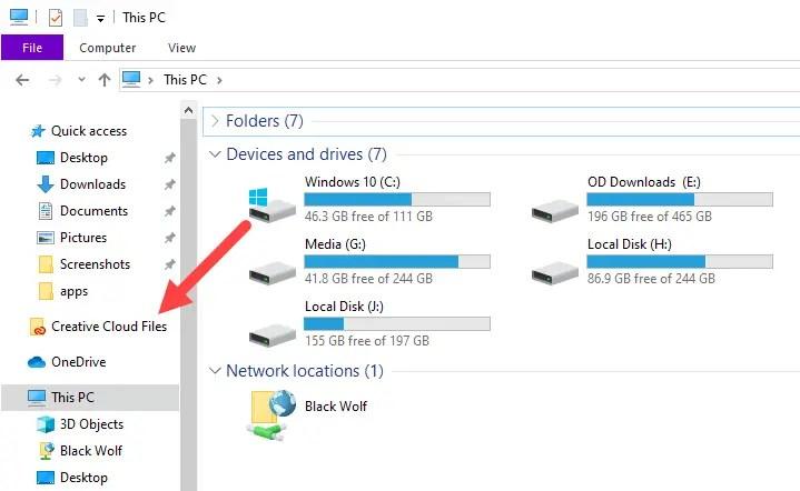 Unpin-remove-creative-cloud-files-folder-ccf-in-file-explorer