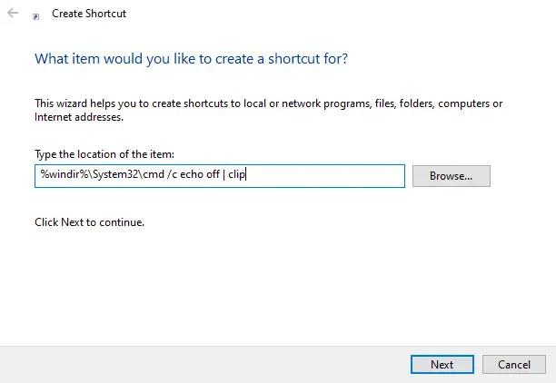 Clear clipboard shortcut - enter code