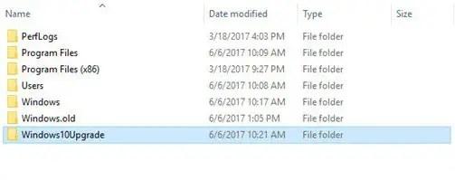 Delete windows10upgrade folder