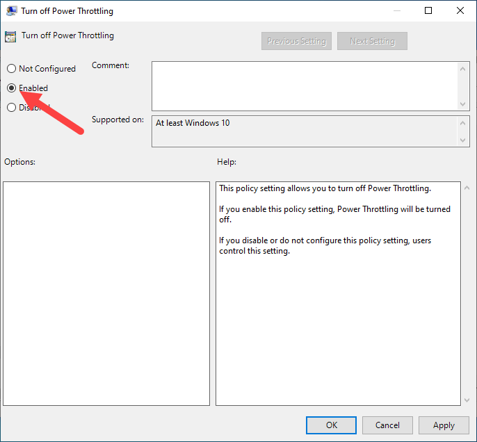 Disable power throttling win 10 - enable policy