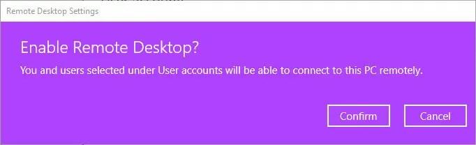 Enable rdp windows 10 - click confirm button