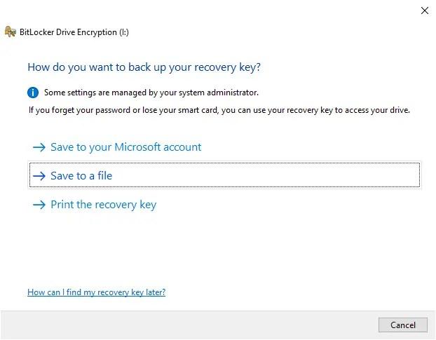 Backup-bitlocker-recovery-key-windows-select-method
