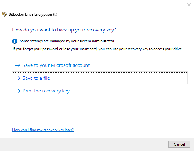 Backup-bitlocker-recovery-key-windows-select-method