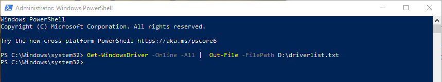Powershell-command-driver-list-windows-output-to-text-file