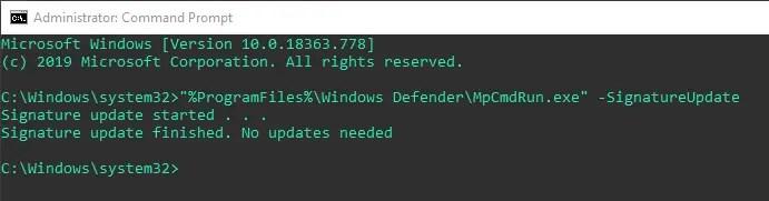 Windows-defender-command-line-signature-update