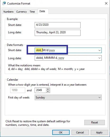 Show-weekday-on-taskbar-notation