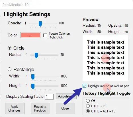 Windows cursor highlight - enable pa
