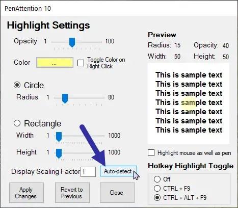 Windows cursor highlight - pa auto detect