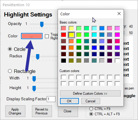 Windows cursor highlight - pa color