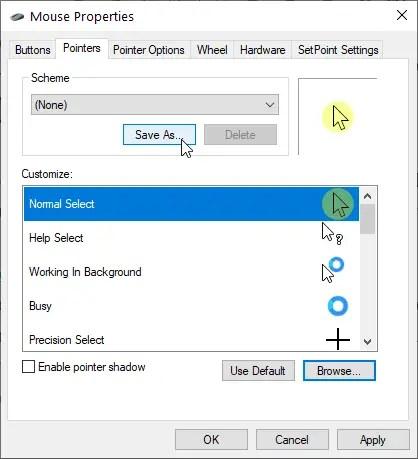 Windows cursor highlight - save as