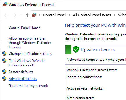 Windows firewall - advanced settings