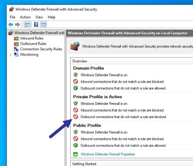 Windows firewall - blocked