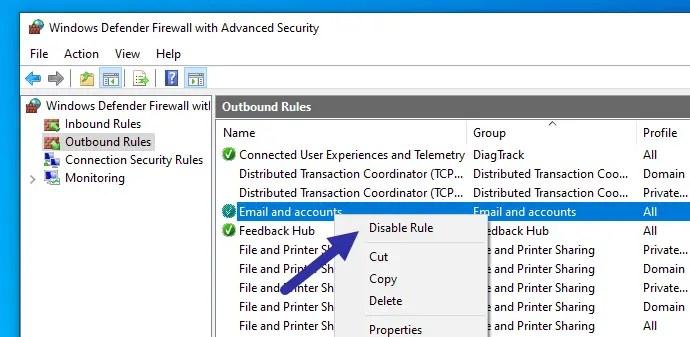 Windows firewall - disable rule