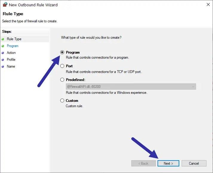 Windows firewall - program
