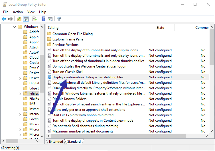 Disable-delete-conformation-dialog-box-open-policy