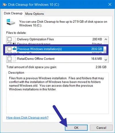 Windows update error - delete-previous-windows-installations