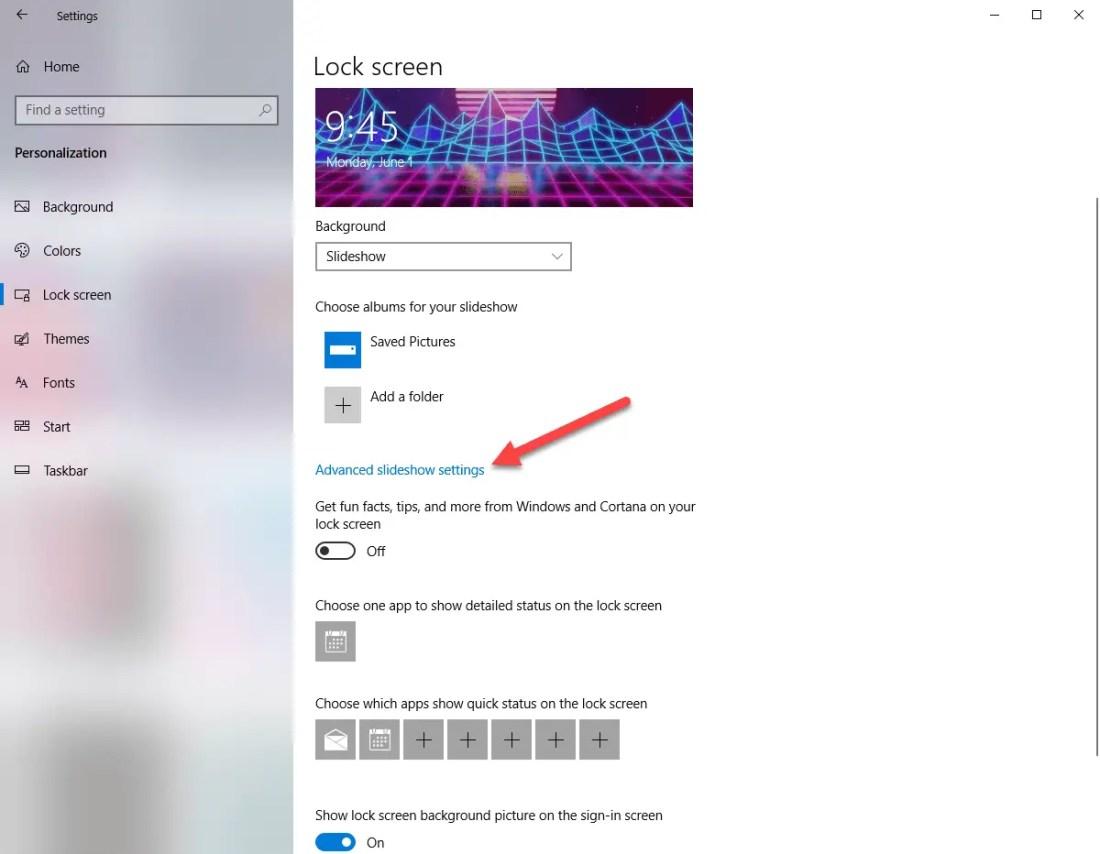 Lockscreen advanced settings