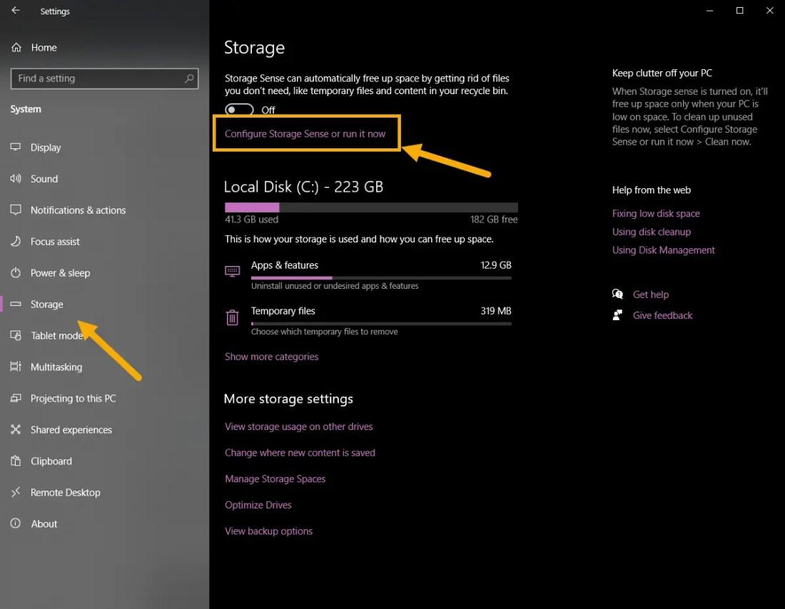 Open storage sense to fix 0xc1900107
