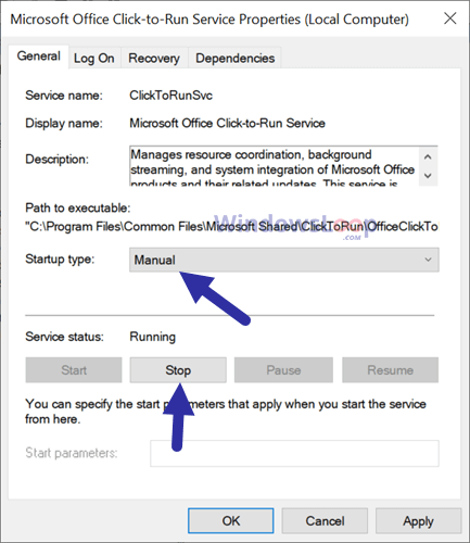 Disable-office-click-to-run-service-200920