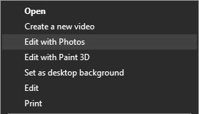 Edit with Photos option in context menu