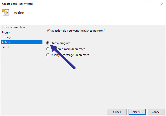 select start a program option