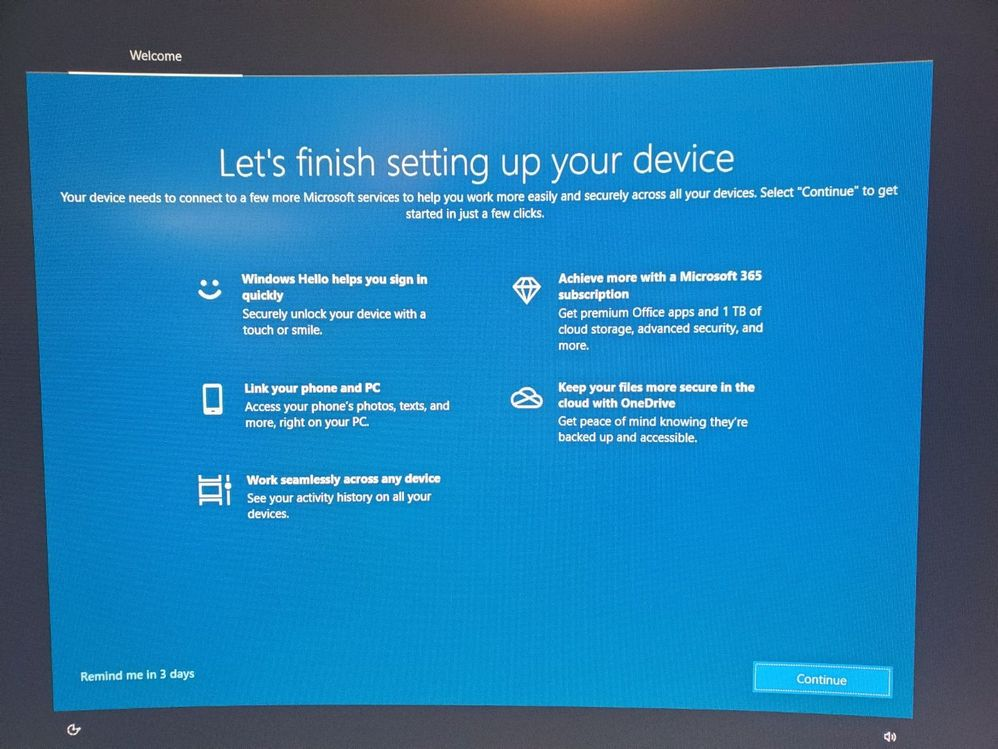 Let's finish setting up your device setup screen