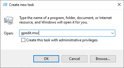 open group policy editor from task manager