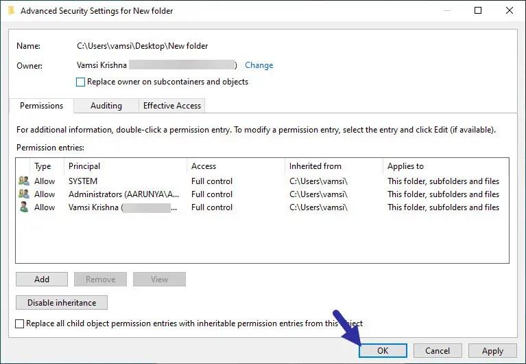 confirm ownership change - take ownership of file or folder