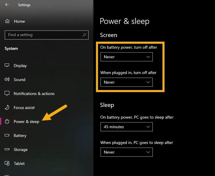 turn off auto lock in Windows 10