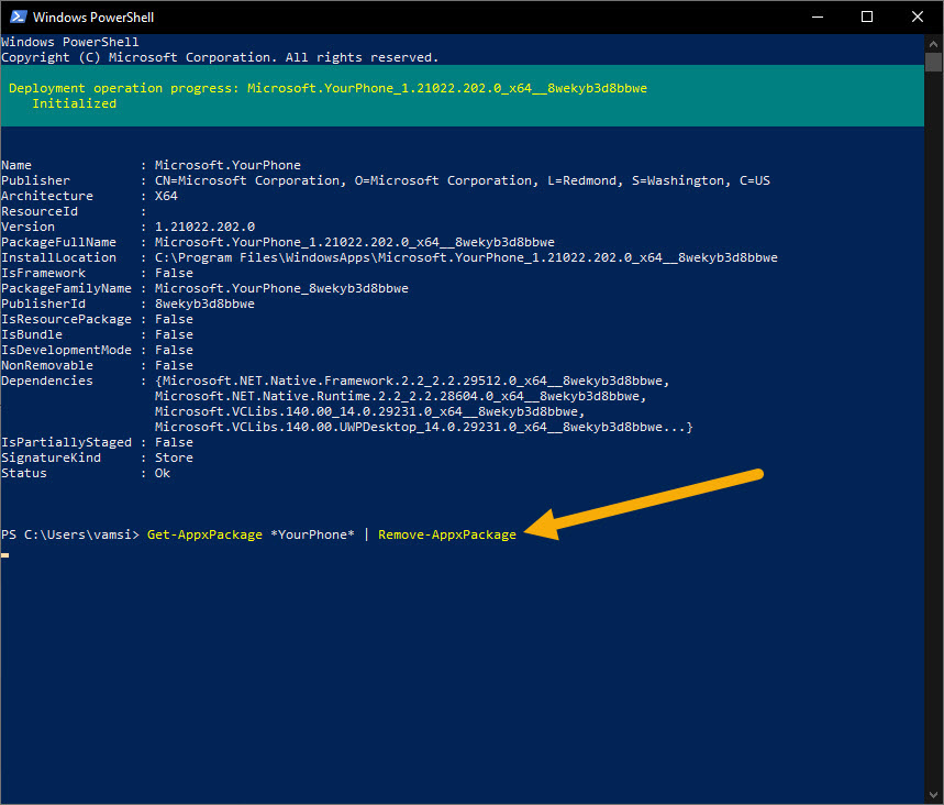 PowerShell command to uninstall your phone app