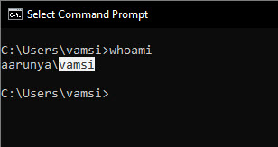 use whoami command to find Windows username