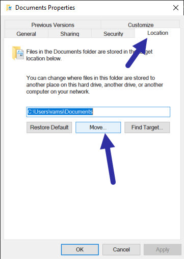move documents folder to another drive