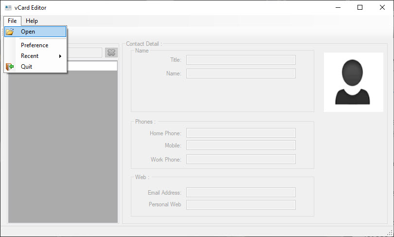 select open in vCard Viewer