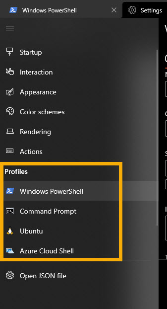 select shell to set background