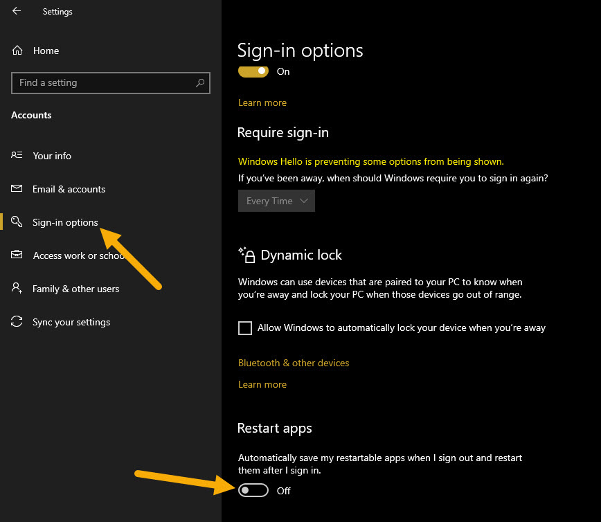 """stop word from opening Windows 10 - turn off """"Restart Apps"""" option"""