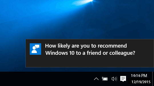 Windows 10 feedback notification