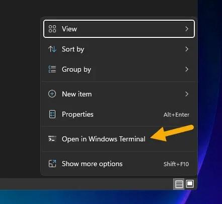 open Windows Terminal from file explorer
